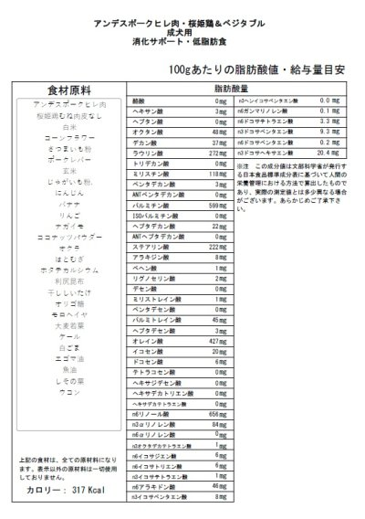 画像2: 【アンデスポークヒレ肉・桜姫鶏&ベジタブル】 成犬用・消化サポート・低脂肪食